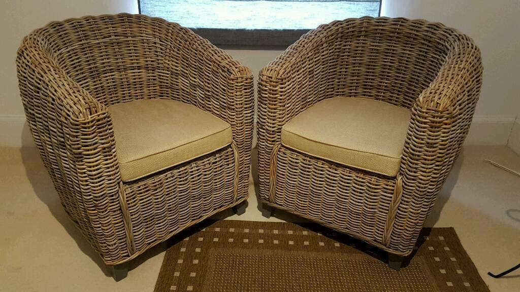 ikea recliner chairs sale red club rattan tub - set of 2 | in reigate, surrey gumtree