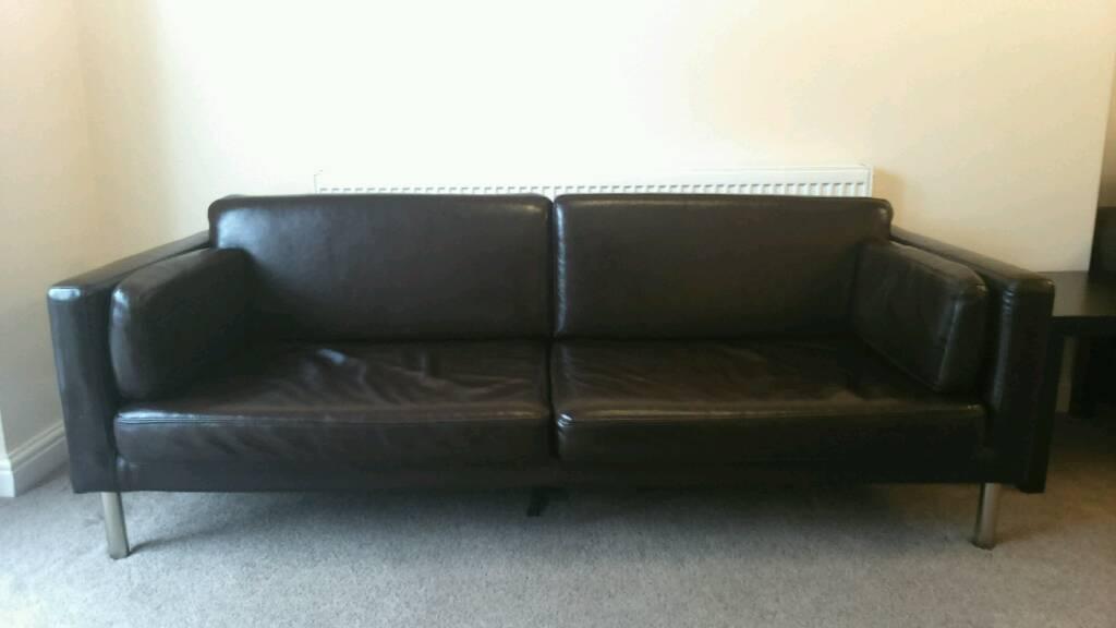 kramfors leather sofa home 3 seater rattan effect mini corner ikea brown faux in sandwell ...