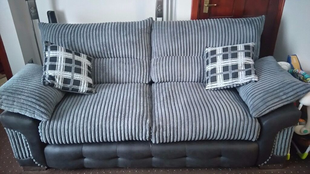 black 3 seater sofa and cuddle chair chippendale style camel back spinner half moon matching footstool grey jumbo cord