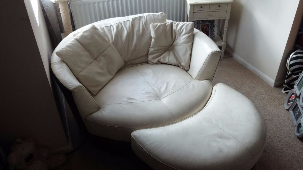 secondhand leather sofas replacement sofa cushions covers cream cuddle swivel chair with half moon foot ...