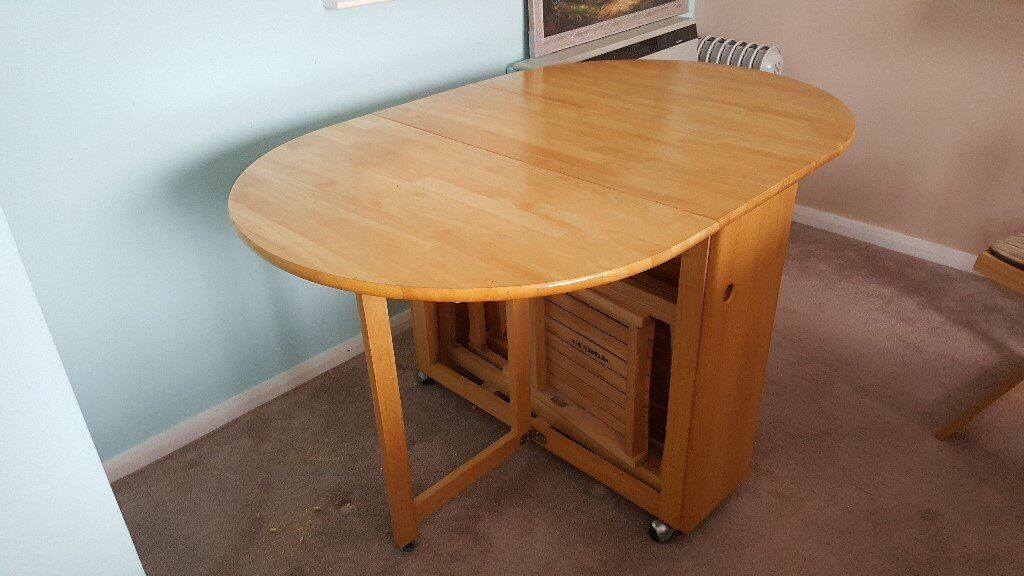 John Lewis Butterfly Drop Leaf Folding Dining Table & Four