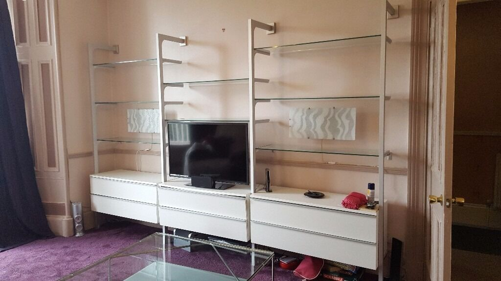 corner storage unit living room contemporary green design ideas ikea anga unit. white, glass and brushed chrome ...
