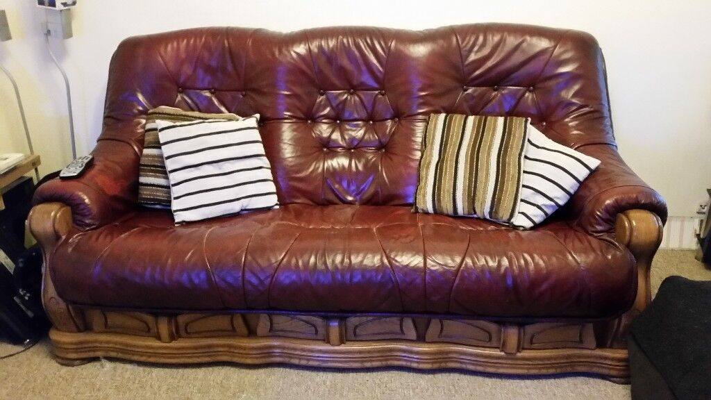 wood frame leather sofas sofa bed ebay com au with solid wooden in kemsing kent gumtree