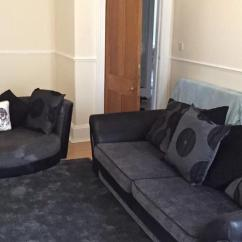 Black 3 Seater Sofa And Cuddle Chair Curved Sectional Sofas At Macy S Grey Fabric In Langside