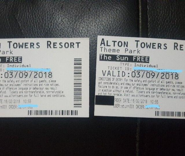 Alton Towers Tickets X  9 18 In Huddersfield West Yorkshire Gumtree