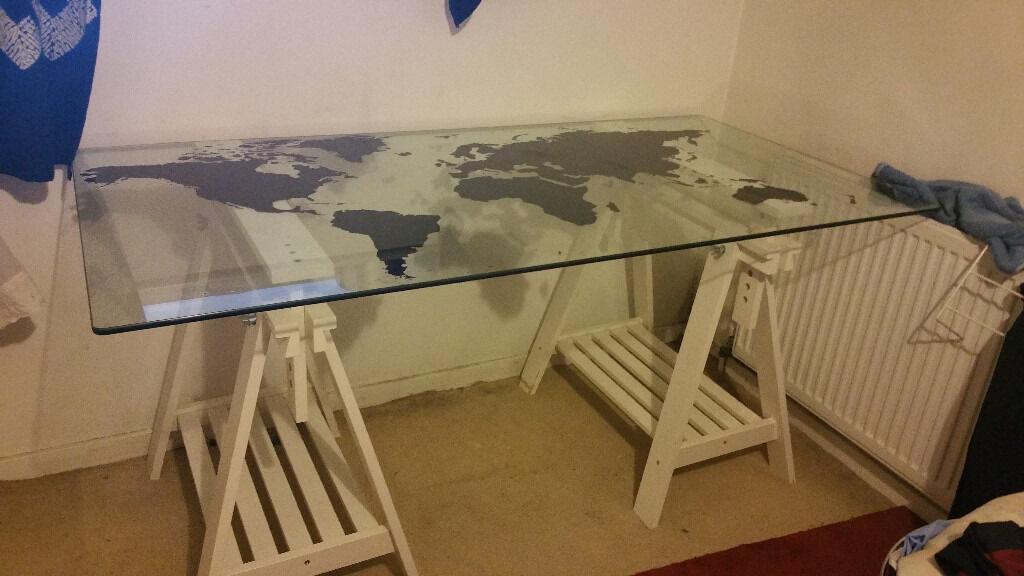 IKEA DESK Glasholm World Map Tempered Glass In Hornsey
