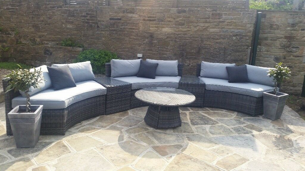 rattan half moon sofa set in kolkata dark grey corner with cushions