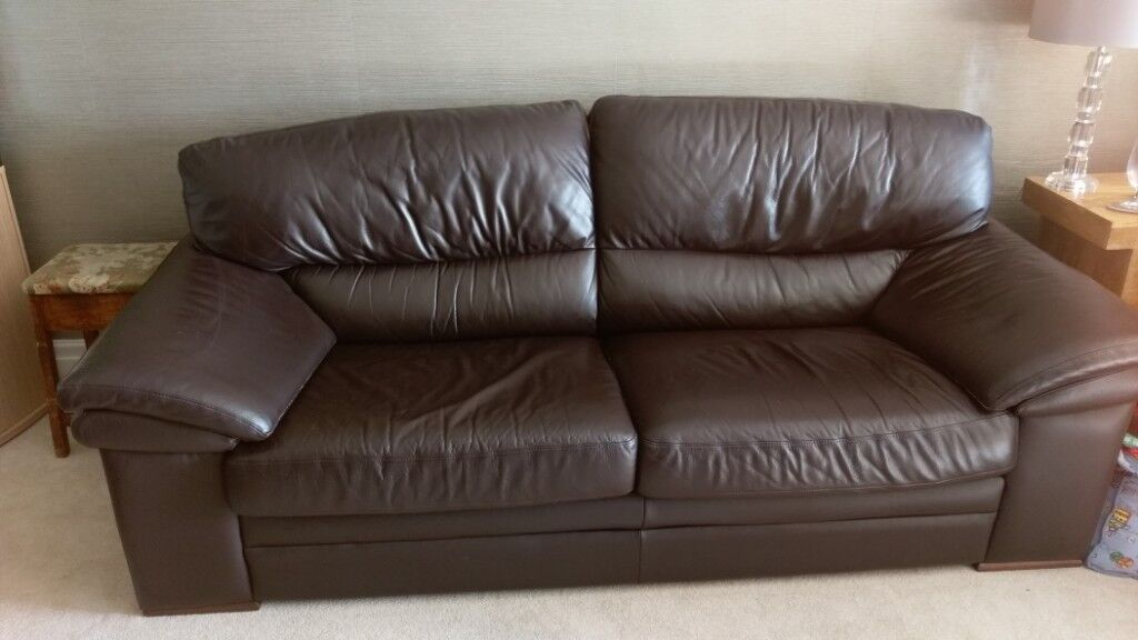 long sofas leather metal sofa legs brown large 7 feet excellent condition from a smoke free home