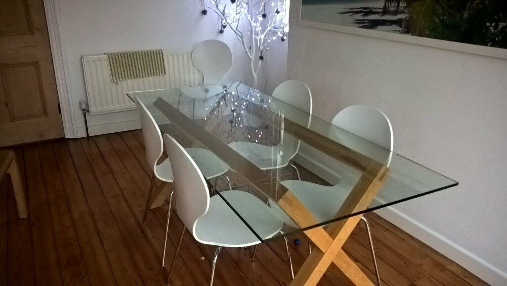 dining room table and chairs gumtree office chair under 200 habitat dublin glass oak | in moortown, west yorkshire