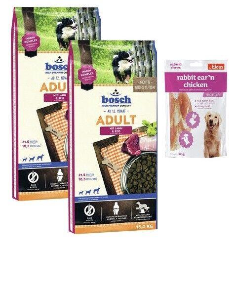 2x15kg Bosch Adult Lamm & Reis Hundefutter + 80g Fleischsnacks
