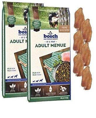 2x15kg Bosch Adult Menue Hundefutter + 6 x Kaninchenohren