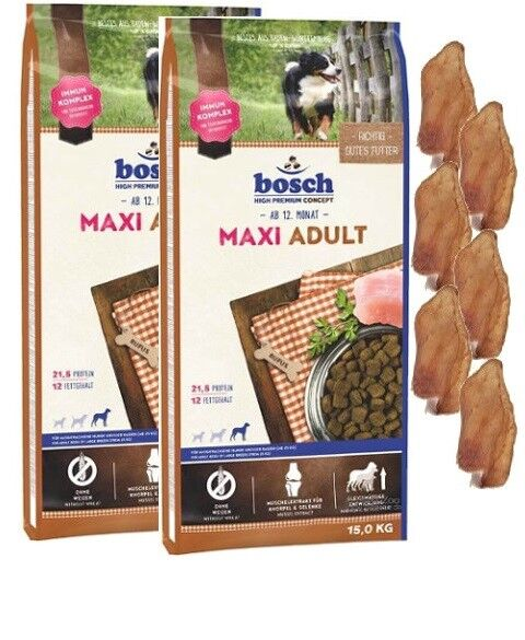 2x15kg Bosch Adult Maxi + 6 x Kaninchenohren