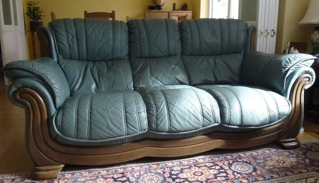 sage leather sofa loveseat cover green three seater with dark wood trim excellent condition and very comfortable