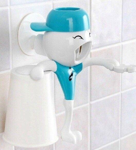 Automatische Zahnpastaspender Wandhalterung Stand Badezimmer - Blau