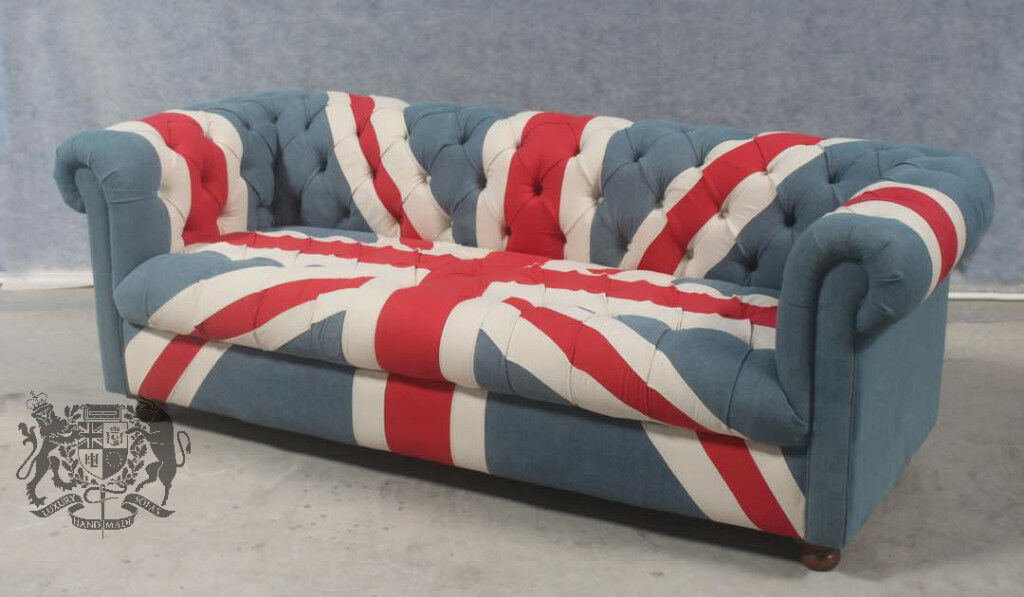 fabric chesterfield sofa bed uk rattan garden corner brand new union jack furniture british flag 3 seat denim