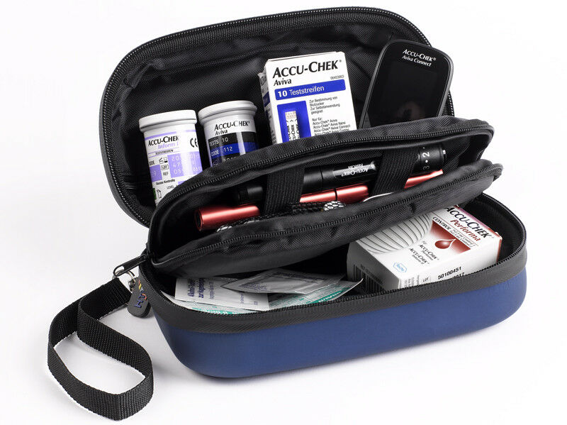DIABETIKERTASCHE mit 2 Kühlelementen Tasche für Diabetiker wasserabweisend blau
