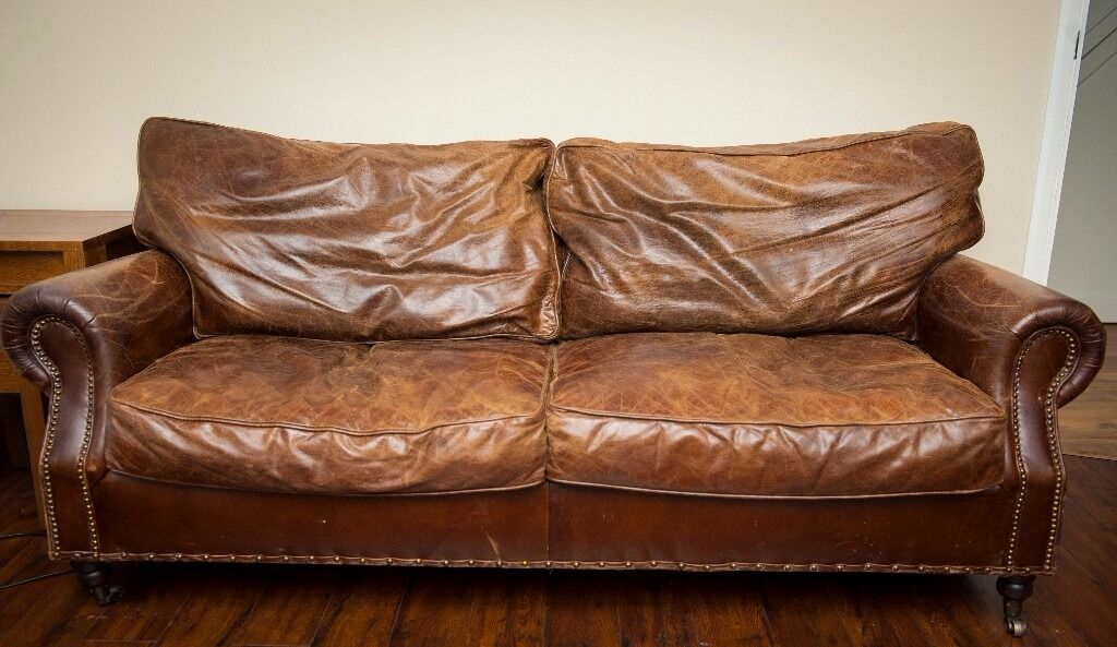 distressed leather corner sofa uk cheap recliner sofas vintage (two 3 seaters) reduced!👍🏼   in ...