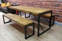 Industrial Steel & Reclaimed Wood Dining Table / Benches ...