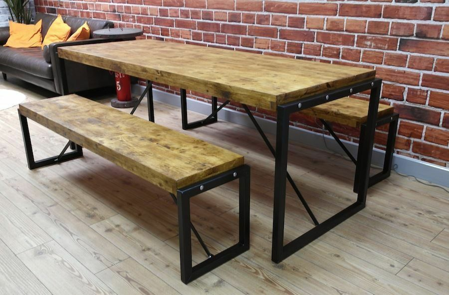 kitchen dining set chicken decor for 4ft steel reclaimed wood industrial table benches in