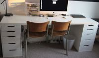Long white Ikea desk with two Alex drawer units | in Hull ...