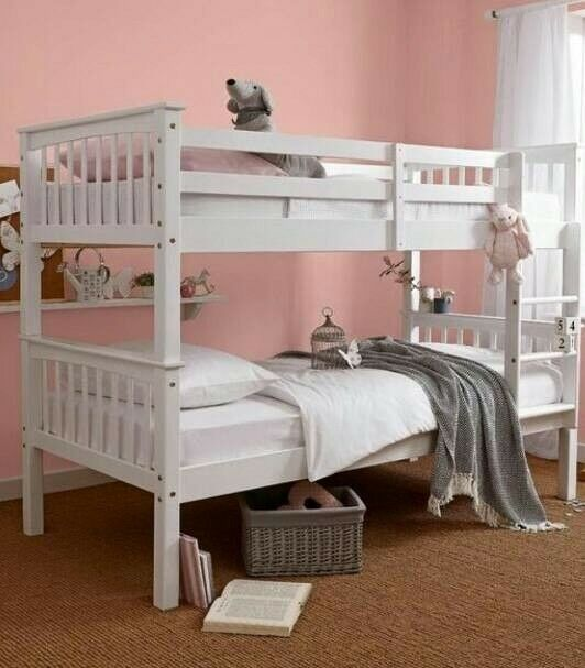 Solid Heavy Duty White Bunk Bed X 2 Single Thick