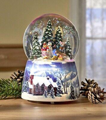 Schneekugel Walddorf, mit Spieluhr und Beleuchtung, 15,5cm, neu