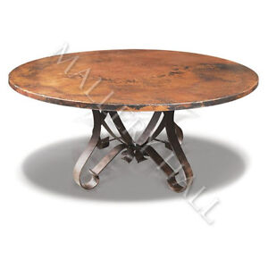Tuscan round copper top flat wrought iron base dining table 60 inch