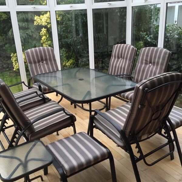 reclining patio chairs and table upside down chair for back pain bali 11 piece garden dining set | in whitley bay, tyne wear gumtree