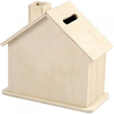 Spardose, Sparbüchse in Hausform aus Holz, unbehandelt