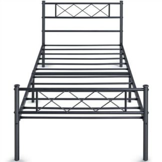 Twin Platform Metal Bed Frame with Headboard and Footboard/Mattress Foundation