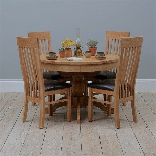 QUALITY ROUND SOLID OAK EXTEND COTSWOLD DINING TABLE AND