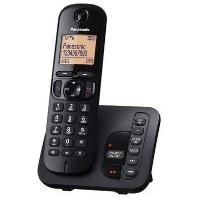 Panasonic Telefon Schnurlostelefon mit AB Festnetztelefon Haustelefon, Schwarz