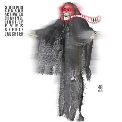 Grim Reaper TOD SKELETT animiert Bewegung + Sound + Licht Halloween Deko #390