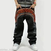 Mens Jeans Denim Crown Holder Embroidery Baggy Loose