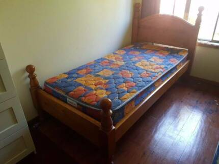 Single Timber Bed Frame With Mattress 120 00 Kingsford