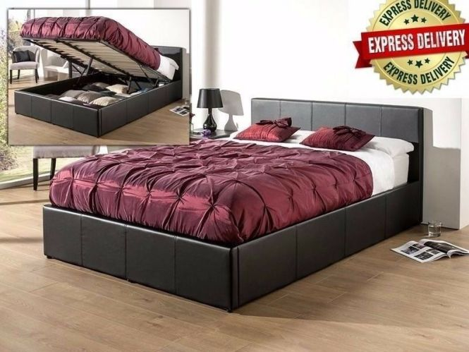 Faux Leather Ottoman Storage Bed Plus Mattress Options In White Black Or