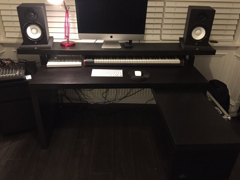 Music production producer desk  IKEA Malm with pull out