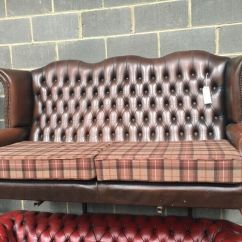 Tartan Chesterfield Sofa Ekeskog Cover Uk Brown Leather Wing Back Cushions Can Deliver