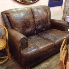Grey Leather Recliner Chair Uk Good Fishing Vintage Rustic Shabby Chic Small 2 Seater High Back Distressed Brown Sofa | In Cyncoed ...