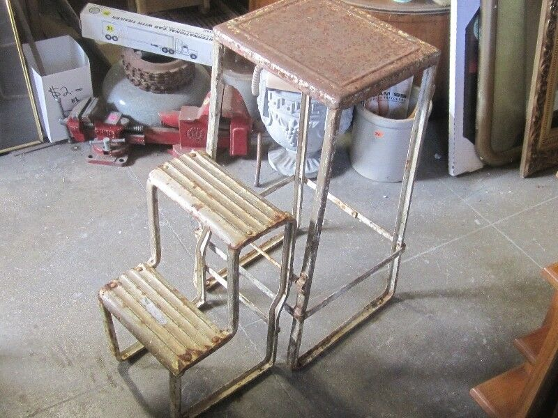 kitchen step antique tables 1930s heavy duty shabby chic all metal stool 20 listing item