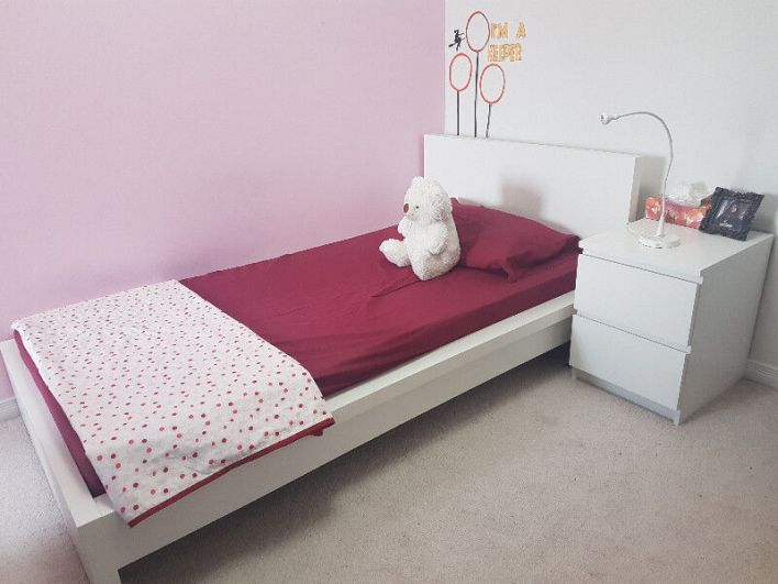 Image result for bed and nightstand
