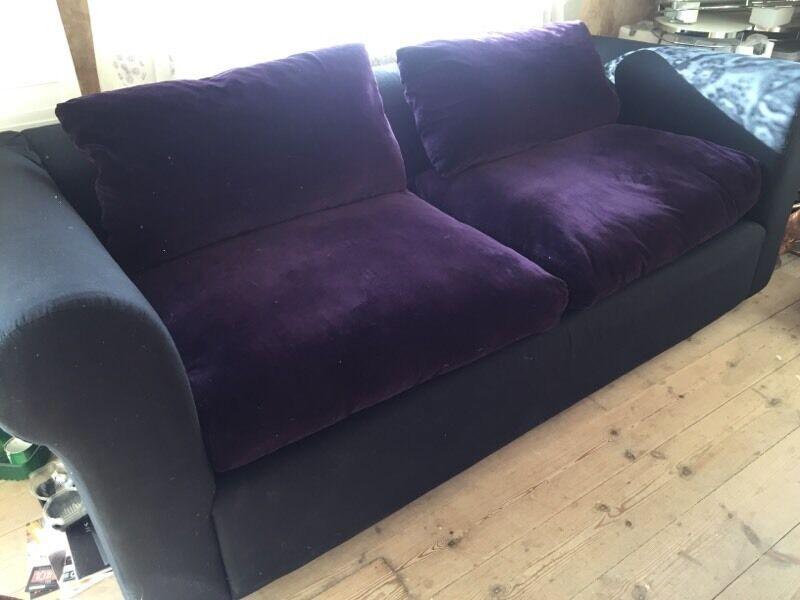 purple velvet sofa bed uk slimline side table habitat futon beds