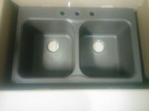 brown kitchen sink discontinued cabinets kijiji in ontario buy sell save with granite top mount two bowl used