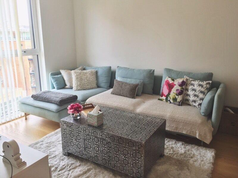sofa london gumtree parisian white leather chair ikea soderhamn - light blue (free cushions + throws ...