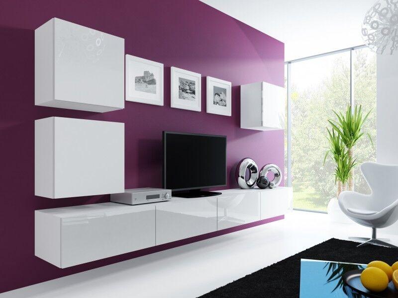 Wohnwand Anbau Wand Fernsehschrank Hängeschrank Regal Hochglanz Matt Wohnzimmer