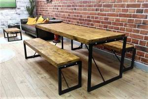 4ft Industrial Reclaimed Rustic Pine Dining Kitchen Table ...