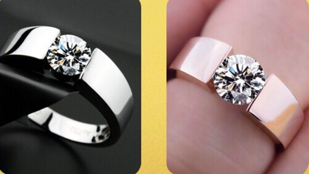 Damenring Silber Rosegold plattiert Zirkonia Kristall Stein Verlobungsring.