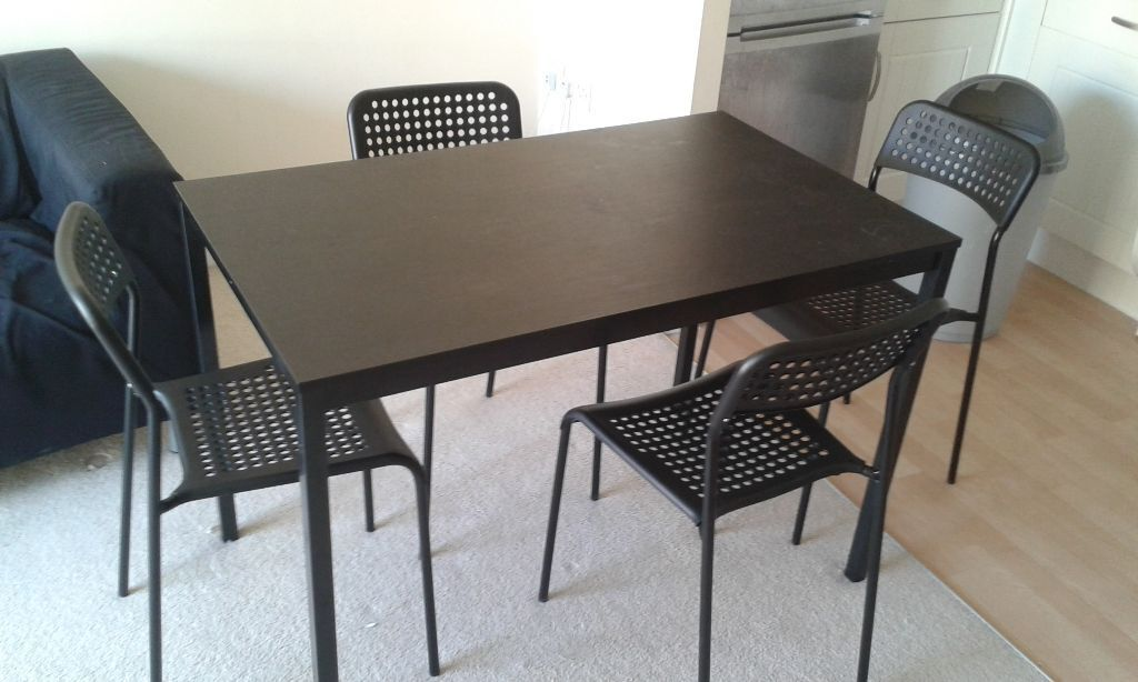 cheap dining chair tommy bahama lounge ikea tarendo black room table 110cm x 67 cm & 4 adde chairs | in exeter, devon gumtree