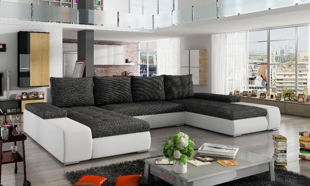 u shaped sofa leather small wooden legs sanmarino fabric corner shape bed storage black grey white naroznik funkcja spania