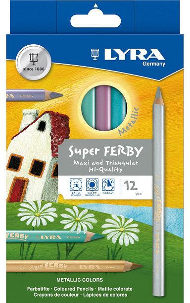 12 Lyra Super Ferby METALLIC dicke Farbstifte Buntstifte Tri Jumbo GOLD+SILBER !